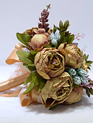 """cheap -Wedding Flowers Bouquets Wedding / Wedding Party Dried Flower / Polyester 10.24""""(Approx.26cm)"""