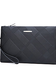 cheap -Men's Zipper PU Leather Clutch Solid Color Black / Fall & Winter