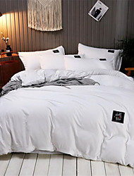 cheap -Duvet Cover Sets Solid Colored Poly / Cotton Yarn Dyed 4 PieceBedding Sets