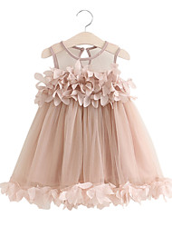 cheap -Kids Girls' Dusty Rose Solid Colored Long Sleeve Above Knee Dress White