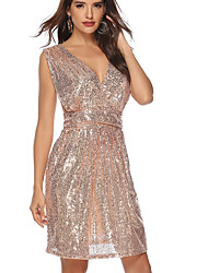 cheap -Women's Khaki Silver Dress Homecoming Cocktail Party Sheath Solid Colored Deep V Sequins S M