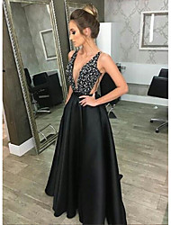 cheap -A-Line Plunging Neck Floor Length Satin Sexy / Open Back Formal Evening Dress 2020 with