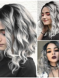 cheap -Synthetic Wig Curly Side Part Wig Long Grey Synthetic Hair 18 inch Women's Fashionable Design Women Synthetic Dark Gray