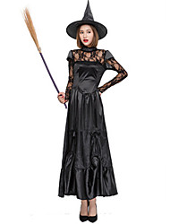 cheap -Witch Movie / TV Theme Costumes Uniforms Dress Cosplay Costume Adults' Women's Dresses Halloween Christmas Halloween Carnival Festival / Holiday Elastic Satin Lace Black Carnival Costumes Solid