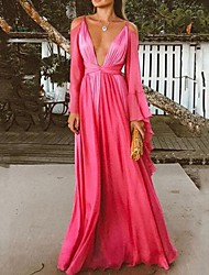 cheap -A-Line Plunging Neck Floor Length Chiffon Open Back Formal Evening / Holiday Dress 2020 with