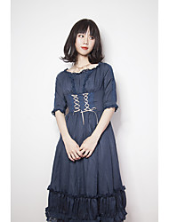 cheap -Pure Classical Elegant Cotton Female Dress Party Costume Party Dress Cosplay Red / Green / Blue Bell Sleeve Half Sleeve Midi Costumes