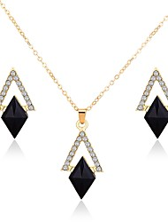 cheap -Women's Black Drop Earrings Necklace Stylish Rhinestone Earrings Jewelry Gold For Daily 1 set