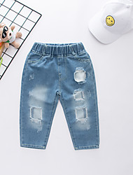 cheap -Kids Boys' Active Street chic Print Cut Out Hole Ripped Cotton Jeans Blue