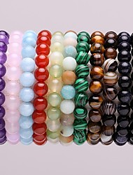 cheap -Men's Women's Crystal Aquamarine Amethyst Beads Bracelet Chakra Blessed Simple Classic Malachite Bracelet Jewelry Green / Blue / Pink For Gift School Street / Tiger's eye Stone
