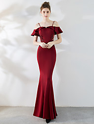 cheap -Mermaid / Trumpet Spaghetti Strap Floor Length Satin / Tulle Elegant & Luxurious / Elegant Formal Evening Dress with Beading 2020