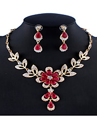 cheap -Women's Black Red Multicolor Cubic Zirconia Bridal Jewelry Sets Chandelier Flower Flower Shape Unique Design Dangling Colorful Resin Rhinestone Earrings Jewelry Black / Dark Red / Rainbow For Wedding