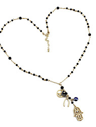 cheap -Women's Long Necklace Geometrical Hand Unique Design Sweet Fashion Plastic Chrome Black Hamsa Hand 70 cm Necklace Jewelry 1pc For Gift Street Holiday Work