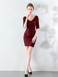 cheap -Sheath / Column V Neck Short / Mini Sequined Sexy / Elegant Cocktail Party / Holiday Dress with Sequin 2020