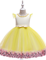 cheap -Ball Gown / Princess Knee Length Flower Girl Dress - Tulle / Poly&Cotton Blend Short Sleeve Jewel Neck with Sash / Ribbon / Cascading Ruffles / Formal Evening
