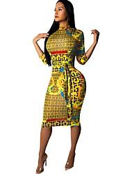 cheap -Women's Basic Loose Bodycon Sheath Dress - Floral Geometric Print Stand Turtleneck Yellow Red Brown S M L XL