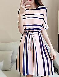 cheap -Women's A Line Dress - Striped Blushing Pink XL XXL XXXL