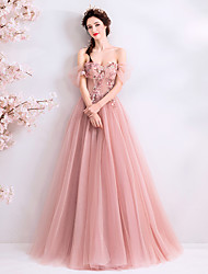 cheap -A-Line Off Shoulder Floor Length Tulle Floral / Cute Prom / Holiday Dress 2020 with Beading / Appliques