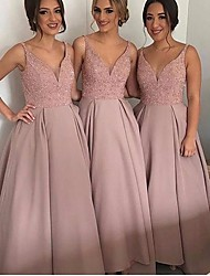 cheap -A-Line Spaghetti Strap Floor Length Jersey Bridesmaid Dress with Appliques / Lace / Open Back