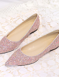 cheap -Women's Wedding Shoes Glitter Crystal Sequined Jeweled Flat Heel Pointed Toe Classic Sweet Wedding Synthetics Pink Gold Silver