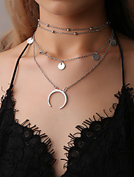 cheap -Women's Necklace Layered Necklace Chrome Gold Silver 38 cm Necklace Jewelry 1pc For Daily Holiday School Street Festival / Charm Necklace