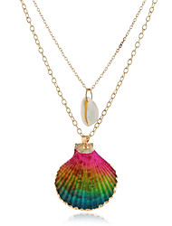 cheap -Women's Multicolor Pendant Necklace Statement Necklace Beaded Necklace Double Layered Flower Shell Artistic Romantic Ethnic Boho Shell Pink Light Green Nude Color 50 cm Necklace Jewelry 1pc For Gift