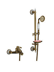 cheap -Bathtub Faucet Brushed / Antique Copper / Rose Gold Wall Installation Ceramic Valve Bath Shower Mixer Taps / Brass / Two Handles Two Holes