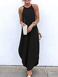 cheap -Women's Maxi T Shirt Dress Halter Neck Black Orange Green S M L XL