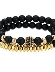 cheap -2pcs Men's Bead Bracelet Vintage Bracelet Earrings / Bracelet Beaded Weave Luxury Classic Vintage Ethnic Fashion Alloy Bracelet Jewelry Black / Silver / Rose Gold For Daily School Street Holiday