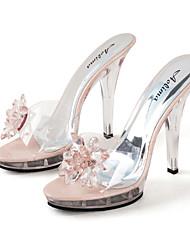 cheap -Women's Sandals Party Heels Peep Toe Crystal PVC Sweet / Minimalism / Lucite Heel Spring &  Fall / Spring & Summer Black / Silver / Pink