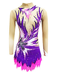 cheap -Rhythmic Gymnastics Leotards Artistic Gymnastics Leotards Women's Girls' Leotard Purple High Elasticity Handmade Print Jeweled Sleeveless Competition Ice Skating Rhythmic Gymnastics Figure Skating