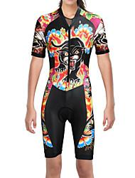 cheap -ILPALADINO Women's Short Sleeve Triathlon Tri Suit Black Cat Animal Floral Botanical Bike Triathlon / Tri Suit Mountain Bike MTB Road Bike Cycling UV Resistant Breathable Moisture Wicking Sports