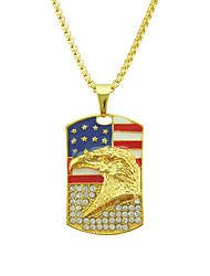 cheap -Men's AAA Cubic Zirconia Pendant Necklace American flag Eagle Flag Patriotic Jewelry European Trendy Casual / Sporty Chrome Gold 76 cm Necklace Jewelry 1pc For Gift Daily Festival