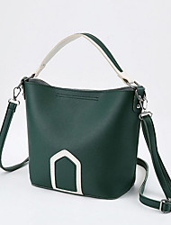 cheap -Women's Polyester / PU Top Handle Bag Leather Bags Solid Color White / Black / Green / Fall & Winter