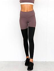 cheap -Women's Yoga Pants Bra Top Solid Color Black+Purple Nano Silver Gym Workout Bottoms Sport Activewear Soft Micro-elastic Slim