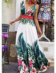 cheap -Women's 2020 Maxi Swing Dress - Floral Deep V Spring & Summer Blue S M L XL