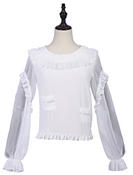 cheap -Artistic / Retro Stylish Casual Blouse / Shirt Girls' Female Chiffon Japanese Cosplay Costumes White Solid Color Other Fashion Bishop Sleeve Long Sleeve Medium Length