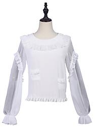 abordables -Artistique / rétro Elégant Simple Chemisier / Chemise Fille Femme Mousseline de soie Japonais Costumes de Cosplay Blanche Couleur unie Autre Mode Bouffantes Manches Longues Moyen