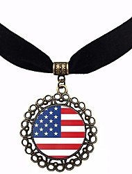 cheap -Women's Pendant Necklace American flag Flag Classic Vintage European Glass Fabric Chrome Rainbow 30+5.5 cm Necklace Jewelry 1pc For Daily Festival