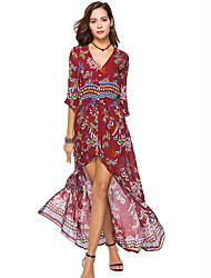 cheap -Women's Elegant Shift Dress - Geometric Print Black Red Wine XL XXL XXXL