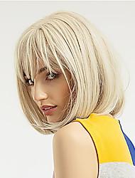 Недорогие -человеческие волосы Remy Лента спереди Парик Стрижка боб стиль Бразильские волосы Прямой Естественный прямой Золотистый Парик 130% Плотность волос