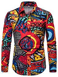 cheap -Men's Color Block Graphic Print Shirt Basic Wine / Purple / Red / Yellow / Blushing Pink / Orange / Khaki / Long Sleeve