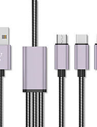 cheap -125cm 3 in 1 Type-C to Lightning Micro Quick Charge Cable Stainless Steel Braided USB Cable for iPhone iPad Macbook Samsung Huawei Xiaomi ect