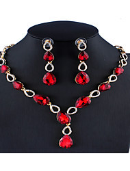 cheap -Women's Purple Black Blue Bridal Jewelry Sets Link / Chain Drop Luxury Elegant Colorful Rhinestone Earrings Jewelry Purple / Red / Blue For Christmas Wedding Party Engagement Gift 1 set