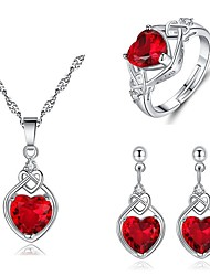 cheap -Women's Red Cubic Zirconia Bridal Jewelry Sets Heart Sweet Elegant Earrings Jewelry Red For Wedding Gift 1 set