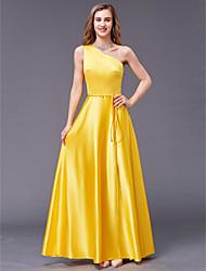 cheap -Sheath / Column One Shoulder Floor Length Satin Bridesmaid Dress with Sash / Ribbon by LAN TING BRIDE®