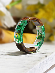 cheap -Couple's Ring Resin 1pc Dark Green Resin Wood Round Natural Boho Gift Jewelry Floral Theme Flower Botanical Cute Lovely