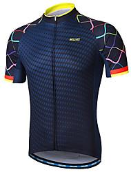 cheap -Arsuxeo Men's Short Sleeve Cycling Jersey Polyester Navy Purple Yellow Gradient Bike Jersey Mountain Bike MTB Road Bike Cycling Reflective Strips Sweat-wicking Sports Clothing Apparel