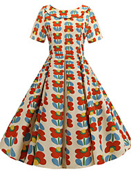 cheap -Women's Vintage A Line Dress - Floral Bow Patchwork Print Red L XL XXL