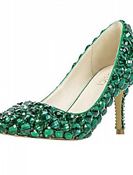 cheap -Women's Heels Stiletto Heel Rhinestone / Beading Synthetics British / Minimalism Spring &  Fall / Fall & Winter Green / Party & Evening / Daily / Party & Evening