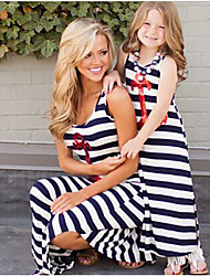 cheap -Mommy and Me Active Basic Striped Sequins Sleeveless Long Knee-length Long Cotton Dress Royal Blue